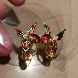Vintage Hummingbird Earrings Clipon